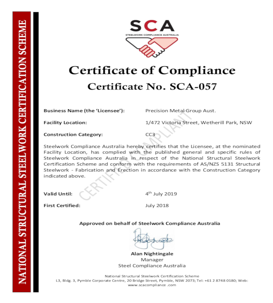 Congrats On Certificate Of Compliance For Structural Steel Work